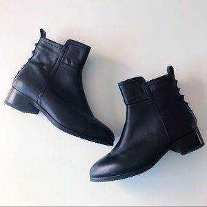 IGLU Canada Black Leather Stud Ankle Boots